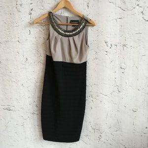 FRANK LYMAN TAN BLACK COCKTAIL DRESS 6
